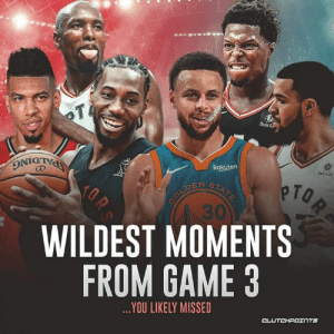 Life, Game, and Golden State: Sun L  Rakuten  Sun Life  PTOR  GOLDEN STATE  30  WILDEST MOMENTS  FROM GAME 3  ...YOU LIKELY MISSED  CLUTCHPOINTS So many wild things happened in last night's Game 3...and not all of them were even shown on TV. 🎥: Watch all in link in bio. — @WarriorsNationCP @RaptorsNationCP