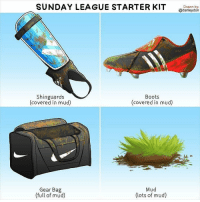 Lmao ! Who can relate? Via 👉 @danleydon 👈: SUNDAY LEAGUE STARTER KIT  Shinguards  Boots  (covered in mud)  (covered in mud)  Mud  Gear Bag  (full of mud)  (lots of mud)  Drawn by:  @danleydon Lmao ! Who can relate? Via 👉 @danleydon 👈