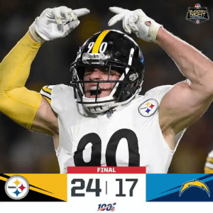 FINAL: @steelers take down the Chargers on #SNF! #PITvsLAC #HereWeGo  (by @Lexus) https://t.co/7Yj22Cf2Mo: SUNDAY  NIGHT  FOOTBAL  Steelers  Sees  FINAL  24 17  Steelers FINAL: @steelers take down the Chargers on #SNF! #PITvsLAC #HereWeGo  (by @Lexus) https://t.co/7Yj22Cf2Mo