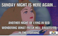 Sunday Night Meme: SUNDAY NIGHT IS HERE AGAIN  ANOTHER NIGHT OF LYING IN BED  WONDERING WHAT FRESH HELL AWAITS ME  IN THE MORNING