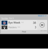 Another tough loss for the Raiders: Sunday, Oct 5  Bye Week 1-0  NET RAIDERS  Raiders 0-4  Final  38  Week 5 v  @NFL MEMES Another tough loss for the Raiders
