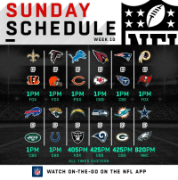 Memes, Nfl, and Cbs: SUNDAY  SCHEDULE  WEEK 10  0  1PM 1PM 1PM 1PM 1PM 1PM  FOXFOX  FOX  CBS  CBSFOX  @1@1@1@1@1@  RAIDERS  1PM  CBS  1PM 405PM 425PM 425PM 820PM  CBS  CBS  FOX  CBS  NBC  ALL TIMES EASTERN  FLWATCH ON-THE-G0 ON THE NFL APP 12 Games Today! 🏈  #SaluteToService https://t.co/ermAqgv8rS
