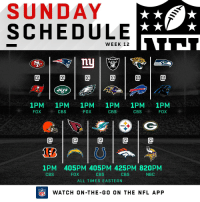 FOOTBALL SUNDAY'S HERE. 🙌🏈 https://t.co/X8XLHfyIi5: SUNDAY  SCHEDULE  WEEK 12  RAIDERS  0  ETS  1PM 1PM 1PM 1PM 1PM 1PM  FOXCBS  FOX  CBS  CBSFOX  @1@1@1@1@  1PM 405PM 405PM 425PM 820PM  CBS  ALL TIMES EASTERN  CBS  FOX  CBS  NBC  FLWATCH ON-THE-G0 ON THE NFL APP FOOTBALL SUNDAY'S HERE. 🙌🏈 https://t.co/X8XLHfyIi5