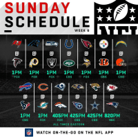 Memes, Nfl, and Cbs: SUNDAY  SCHEDULE  WEEK 6  0  0  RAIDERS  ETS  1PM 1PM 1PM 1PM 1PM 1PM 1PM  FOX  FOX  FOX  CBS  FOX  CBS  CBS  @1@1@1@1@1@  1PM  CBS  1PM 405PM 425PM 425PM 820PM  FOX  ALL TIMES EASTERN  FOX  CBS  CBS  NBC  FLWATCH ON-THE-GO ON THE NFL APP IT'S SUNDAY! 🏈🏈🏈🏈🏈🏈🏈🏈🏈🏈🏈🏈🏈 https://t.co/07STWUsG0l