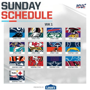 Waited so long for a...  🎉🏈 FOOTBALL SUNDAY! 🎉🏈   (by @Lowes) https://t.co/tx04ybLoZA: SUNDAY  SCHEDULE  WK 1  NEW YORK  ETS  1PMET I FOX  1PMET I CBS  1PMET FOX  1PMET I FOX  1PMET CBS  1PMET CBS  1PMET I CBS  405PMET I CBS  425PMET FOX  425PMET FOX  405PMET CBS  425PMET I FOX  Steelers  820PMET I NBC  LOWE'S  PRESENTED BY Waited so long for a...  🎉🏈 FOOTBALL SUNDAY! 🎉🏈   (by @Lowes) https://t.co/tx04ybLoZA