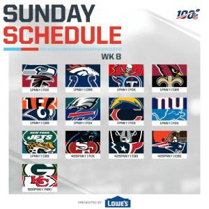 WAKE UP!  Another Football Sunday is here. 🙌(by @Lowes) https://t.co/CvBZkuYfHx: SUNDAY  SCHEDULE  WK 8  2  1PMET I FOX  1PMET I FOX  1PMET I CBS  1PMET I CBS  1PMET I FOX  1PMET CBS  1PMET I FOX  1PMET I FOX  NEW YORK  JETS  405PMET I FOX  1PMET I CBS  425PМЕT | СBS  425PMET CBS  820PMET I NBC  PRESENTED BY LOWES WAKE UP!  Another Football Sunday is here. 🙌(by @Lowes) https://t.co/CvBZkuYfHx