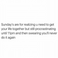 Do It Again, Memes, and Sunday: Sunday's are for realizing u need to get  your life together but still procrastinating  until 11pm and then swearingyou'll never  do it again me rn
