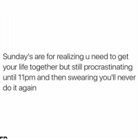 Do It Again, Sunday, and Girl Memes: Sunday's are for realizing u need to get  your life together but still procrastinating  until 11pm and then swearingyou'll never  do it again Next Sunday I'll have my shit together for sure