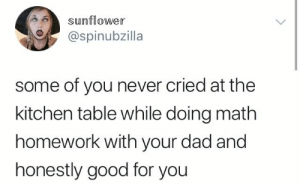 : sunflower  @spinubzilla  some of you never cried at the  kitchen table while doing math  homework with your dad and  honestly good for you