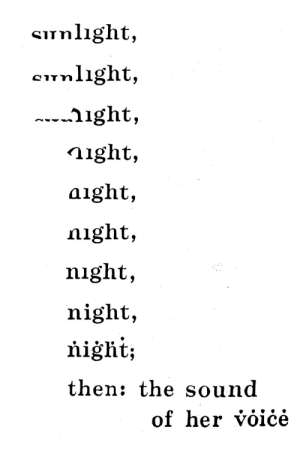 visual-poetry: »nocturne« by bob grumman (+): Sunlıght,  cunlight,  ---ight,  night,  aight,  night,  night,  night,  ňiġht;  then: the sound  of her voiċė visual-poetry: »nocturne« by bob grumman (+)