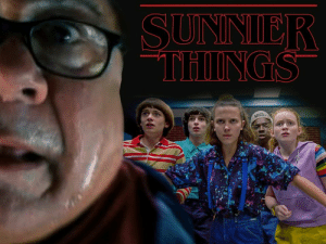 The Stranger Things gang discover it's always sunny in Hawkins.: SUNNIER  THINGS  ARONTEA The Stranger Things gang discover it's always sunny in Hawkins.