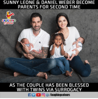 Congratulations To #SunnyLeone & #DanielWeber :): SUNNY LEONE E& DANIEL WEBER BECOME  PARENTS FOR SECOND TIME  LAUGHING  Colours  AS THE COUPLE HAS BEEN BLESSED  WITH TWINS VIA SURROGACY Congratulations To #SunnyLeone & #DanielWeber :)