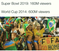 Different levels 😲 - DM this to someone: Super Bowl 2019: 160M viewers  World Cup 2014: 600M viewers  GO HOME Different levels 😲 - DM this to someone