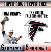 yikes PatsNation: SUPER BOWL EXPERIENCE  TOM BRADY  THE ENTIRE  FALCONS ROSTER:  @CBS Sports  6 SUPER BowLS 5 SUPER BowLS yikes PatsNation