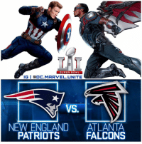 See what I did there ? 😉 Anways…WHO DO YOU THINK WILL WIN THE SUPERBOWL ? 🇺🇸 The NewEnglandPatriots VS The AtlantaFalcons ! Which is pretty much CaptainAmerica VS Falcon, and I think we all know who would win that Fight…so maybe it'll be the same for FootBall. Anyways Comment Below who you're routing for, or if you're just watching for the Movie Trailers ! SuperBowlSunday 🏈 Marvel 💥: SUPER BOWL  IGI CDC MARVEL UNITE  NEW ENGLAND  ATLANTA  FALCONS  PATRIOTS See what I did there ? 😉 Anways…WHO DO YOU THINK WILL WIN THE SUPERBOWL ? 🇺🇸 The NewEnglandPatriots VS The AtlantaFalcons ! Which is pretty much CaptainAmerica VS Falcon, and I think we all know who would win that Fight…so maybe it'll be the same for FootBall. Anyways Comment Below who you're routing for, or if you're just watching for the Movie Trailers ! SuperBowlSunday 🏈 Marvel 💥
