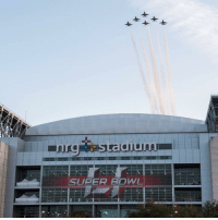 The U.S. Air Force Thunderbirds fly in formation over NRG park ahead of SuperBowl 51 (Image via @aftunderbirds): SUPER BOWL The U.S. Air Force Thunderbirds fly in formation over NRG park ahead of SuperBowl 51 (Image via @aftunderbirds)