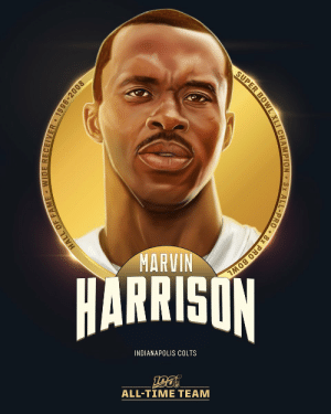 Marvin Harrison is one of the 10 wide receivers selected to the #NFL100 All-Time Team!  🏈 3x First-Team All-Pro, 8x Pro Bowl selection 🏈 1,102 receptions (5th all-time), 14,580 receiving yards (9th), 128 receiving TDs (5th) 🏈 Single-season NFL record for receptions (143) https://t.co/TcYexcERaI: SUPER BOWL XLI CHAMPION 3x ALL-PRO • 8x PRO BOWL  MARVIN  HARRISON  INDIANAPOLIS COLTS  ALL-TIME TEAM  HALL OF FAME WIDE RECEIIVER • 1996-2008 Marvin Harrison is one of the 10 wide receivers selected to the #NFL100 All-Time Team!  🏈 3x First-Team All-Pro, 8x Pro Bowl selection 🏈 1,102 receptions (5th all-time), 14,580 receiving yards (9th), 128 receiving TDs (5th) 🏈 Single-season NFL record for receptions (143) https://t.co/TcYexcERaI