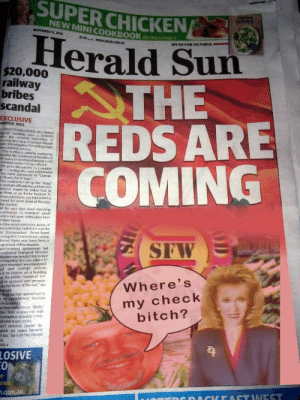 """https://t.co/y4KtYVTBL1: SUPER CHICKEN  tastee  CHICKEN  NEW MINI COOKBOOK  NOVEMBER 13, 2014  $1.30  Herald Sun  THE  REDS ARE  COMING  DETAILS PAGE 2  HERALDSUN COM AU  WE'RE FOR VICTORIA  $20.000  railway  bribes  scandal  EXCLUSIVE  ANDREW RULE  WHISTLEBLOWER whon Timed  handing over a $20000  he bas acrset therities of  vering up a ring of ormtofficials  der investigation foe rorting hage  sof public oney  The mortherm suh  orded the haandover of bundles of  H otes to be shared among a oell  Ferooked senioe V/Lipe officals  He gave the money to a middle  annoting the cas withdrawal  his bank statvment as """"Cormap  Money for V/ine  The contractor set up the """"sting  r corrupt officials forced him into  sition where he either had to  e them or go broke because V/  ewas refusing to pay him what he  owed for work done at Beniliga  wny station  it he says that since reporting  cormption to transport chiefs  police last year, authorities have  n their hands.  he transport executive aware of  ase yesterday called for a probe  ne Independent Broad-hased  orruption Commission, saying  lieved there may have been a  up ahead of the election  saburts  Contractor  SFWE A  2nvermment spokesman last  confirmed Transport Minister  Mulder was lriefed that police  vestigating the case after a V/  ject manager was dismissed  gal and corrupt activity,  it be unions on a building  on the public transport net-  l be pursued and prosecu-  the full force of the law,"""" the  man said  Hmdd Sun has agreed not to  the whedleblower becanse  for his sufety  heen wamed that """"Mafia""""  Bavr been connected with  deomuption of puhlic trans  als over many years  an't mention iname de  eside my name because  ot me,"""" be told the Herald  Where's  my check  bitch?  AGE 4  LOSIVE  Own  7.com.au  ACKEASTWEST https://t.co/y4KtYVTBL1"""