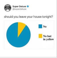 Follow @superdeluxe for the best posts on Instagram: Super Deluxe  xe@superdeluxe  Super  Deluxe  should you leave your house tonight?  No  0  No but  in yellow Follow @superdeluxe for the best posts on Instagram