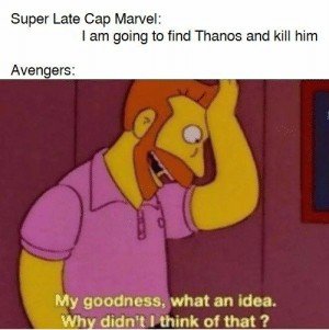 Avengers, Marvel, and Thanos: Super Late Cap Marvel:  I am going to find Thanos and kill him  Avengers:  My goodness, what an idea.  Why didn't I think of that ? captain Karen 3000!