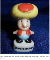 Nightmare fuel. https://t.co/PTy4JHZZIw: SUPER MARIO  Set of licensed Super Mario porcelain figurines, featuring Toad with a nose. A close-up of Toad is Nightmare fuel. https://t.co/PTy4JHZZIw