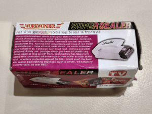 No matter how vexed your nonutility be: SUPER SEALER  EWORKWONDER  Just slide SUPER SEALER across bags  to seal in freshness !  Have sometimesbeen able to affect your state of mindbecause  of a lot of situation such as damp, becomingmilde wed, depraved,  water leaking from in the dailylife, have used you feel very vexed,  good under this, have had the convenient plastic bag of new model  seal implement, have all have made stable, no matter howvexed  your nonutility be. Collection such as all food, clothing and other  articales of daily use, postage stamp, you have put plastic bag  lining inside as long as with them, seal machine has taken form  lightly with convenient adheaive tape of new model as soon as the  fault, one have protection against the tide, mould proof, the herm  etic sealing bag retaining freshness. Such is simple, the simplicity  is comfortable, be best life!!  Sealer  RE  BSEA LER  AS SEEN ON  Relaxea on  Pulls  sh  r anic  aliy to reta  MADE IN C HINA No matter how vexed your nonutility be