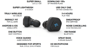 lifepro-tips:  True Wireless Headphones with unlimited access to 100+ adaptive audio  training plans for running, cycling, gym and fitness for ONLY $29…  Find  out more here https://kck.st/2PfZ1tW   : SUPER SMALL  2.6 x 2.1 CM  DOWNLOAD 100s  OF TRAINING PLANS  SUPER LIGHTWEIGH  4.1G EACH  USE ONLY ONE  OR TWO CONNECTED  TRULY WIRELESS  NO CABLES  3-6 HOURS  PLAY TIMIE  PERFECT FIT  FOR ALL EARS  SWEATPROOF  IPX5 CERTIFIED  ANDROID & iOS  MOBILE APPS  NOISE CANCELLING  CVC6 TECHNOLOGY  ONE BUTTON  EASY CONTROLS  10M RANGE  BLUETOOTH  VOICE GUIDED  GREAT BASS  & SOUND QUALITY  AUDIO WORKOUTS  DESIGNED FOR SPORTS  HD MICROPHONE  FOR CALLS  RUN, CYCLE, GYM, FITNESS lifepro-tips:  True Wireless Headphones with unlimited access to 100+ adaptive audio  training plans for running, cycling, gym and fitness for ONLY $29…  Find  out more here https://kck.st/2PfZ1tW