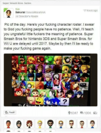 Super Smash Bros. Series  17 hours ago.  Sakura  Sakurai MasahiroA  e Directors Room  Pic of the day. Here's your fucking character roster. l swear  to God you fucking people have no patience. Well, I'll teach  you ungrateful little fuckers the meaning of patience. Super  Smash Bros for Nintendo 3DS and Super Smash Bros. for  Wii U are delayed until 2017. Maybe by then I'll be ready to  make your fucking game again.  Yeah!  96347 1004