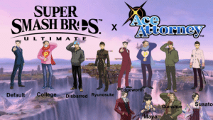 "If Phoenix Wright was in Smash Color Concept: SUPER  SMASH BRPS"" x  Ace  Attorney  TM  U L TI M A T E  Edgeworth  College  Default  Disbarred Ryunosuke  Susato  Gumshoe  Maya If Phoenix Wright was in Smash Color Concept"