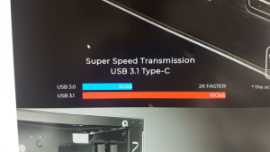 That doesn't look like twice the size...: Super Speed Transmission  USB 3.1 Type-C  5Gb/s  2X FASTER  *The ac  USB 3.0  10Gb/s  USB 3.1 That doesn't look like twice the size...
