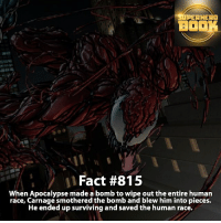 Memes, SpiderMan, and Superhero: SUPERHERO  BOOK  Fact #815  when Apocalypse made a bomb to wipe out the entire human  race, Carnage smothered the bomb and blew him into pieces.  He ended up surviving and saved the human race. What superhero name would you give Carnage? - marvel superhero facts marvelfacts supervillain rocketracoon spiderman marveluniverse anime marvelstudios xmen daredevil avengers comics mcu marvelart marvelcomics teamcap civilwar teamironman ironman avengers deadpoolmovie captainamerica deadpool carnage andrewgarfield ===================================