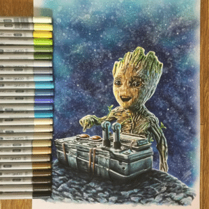 News, Superhero, and Tumblr: superhero-news:  Baby Groot drew in Copic marker on A3 paper. Hope you like it guys! Can't wait for this movie!