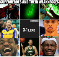 Every hero has a weakness.: SUPERHEROES AND THEIR WEAKNESSES  @NBAMEMES  3-1 LEAD  WARRIORS  SV 33  94  OT  4.4 Every hero has a weakness.