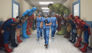 Superheroes showing their respects to doctors: Superheroes showing their respects to doctors