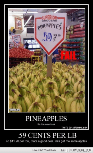 .59 Cents Per Lbhttp://omg-humor.tumblr.com: SUPERIOR  GROCERS  PINEAPPLES  59  1B  GAIL:  fallblog.org  PINEAPPLES  It's the new look  TASTE OF AWESOME.COM  .59 CENTS PER LB  so $11.28 per ton, thats a good deal. Im'a get me some apples  TASTE OF AWESOME.COM  Like this? You'll hate .59 Cents Per Lbhttp://omg-humor.tumblr.com