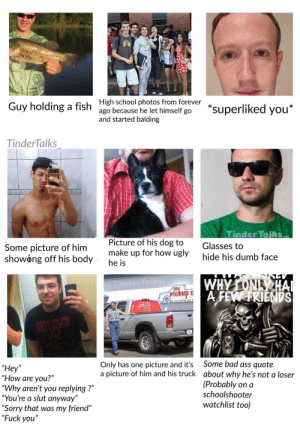 """Ass, Bad, and Dumb: *superliked you  Guy holding a fish High school photos from forever  ago because he let himself go  and started balding  TinderTalks  Tinder Talsis  Picture of his dog to  make up for how ugly  he is  Glasses to  Some picture of him  showong off his body  hide his dumb face  WHYONL HA  AFEW FRIENDS  Tinder Talks  the  Pickup  Some bad ass quote  about why he's not a loser  (Probably on a  schoolshooter  Only has one  picture of him and his truck  picture and it's  """"Hey""""  """"How are you?""""  """"Why aren't you replying?""""  """"You're a slut anyway""""  """"Sorry that was my friend""""  """"Fuck you""""  watchlist too)  TRAIN Part 2"""