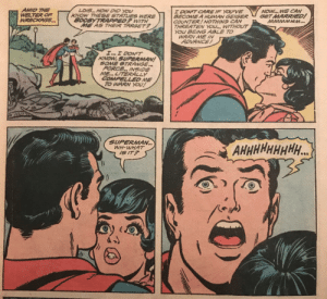 Superman can't handle Lois's kiss.: Superman can't handle Lois's kiss.