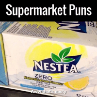 Dank, Love, and Puns: Supermarket Puns  NESTEA  ZERO  ICED Flauour  TEA  MADE PRESERVATIVES  at  m  asty  12 ca Tag a mate who loves a good pun! 😂😂