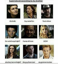 Memes, Old Man, and Weird: Supernatural according to my brother  Truck driver  Akoholic  Gay metal fan  the weird angel right? Funny old man  10/10  also hot, but evil right? the guy from lost my german teacher supernatural spn spnfamily castiel mishacollins cockles destiel deanwinchester samwinchester marksheppard crowley jensenackles jaredpadalecki winchester sabriel twistandshout osricchau superwholock bobbysinger teamfreewill fandom markpellegrino impala casifer alwayskeepfighting akf tumblr robbenedict chuckshurley spncast