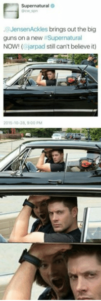 Guns, Memes, and Jared: Supernatural  @Jensen Ackles brings out the big  guns on a new Supernatural  NOW! (ajarpad still can't believe it)  2015-10-28, 9 00 PM Did you notice Jared's face? 😂 - CateAckles