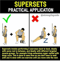 """Follow @strengthguide for more great new posts ・・・ So while supersets can be useful to save time; I don't suggest super-setting within the same muscle group. For example, bench press super-setted with db flys; as this will cause too much fatigue and reduce the amount of weight you can do in the bench press in subsequent sets. Not ideal for strength nor hypertrophy. ___ Seeing as how research shows longer rest periods lead better progress than shorter rest periods, it is a no brainer not to superset exercises involving the same muscle group. The best way to grow a muscle is not through exhaustion during sessions; but with progressive overload. It's hard to progressively overload if you're always super-setting within the same muscle group or doing random things in the gym to """"destroy"""" the muscle. Focus on performance, not damage. ___ If you're short on time then supersets won't harm performance if done correctly. Use different muscle groups, and ideally rest at least ~1min between exercises (depending on the exercise) which would mean about 2min or more of rest before repeating an exercise. It is important to note that if you're super-setting compound lifts, more rest is likely needed as opposed to super-setting isolation exercises. ___ Conclusion: If you're going to utilize supersets to save time; the main recommendation is to use them with different targeted muscle groups. This can be biceps and leg extensions if you wanted to, the point is to save time if you're in a hurry; while not taking up all the machines in the gym. Tag a friend who might find this helpful! strengthguide ___ References: https:-www.ncbi.nlm.nih.gov-pubmed-27243916 https:-www.ncbi.nlm.nih.gov-pubmed-26605807: SUPERSETS  PRACTICAL APPLICATION  @strengthguide  Supersets involve performing 2 exercises back to back, ideally  with some rest in between, and ideally with different targeted  muscle groups. For example tricep extensions super-setted with  bicep curls. This is done to save time so you do"""