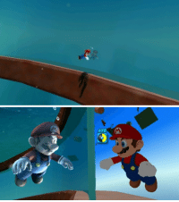 Creepy, Super Mario, and Target: suppermariobroth:In Super Mario Galaxy, if Mario swims close to the glass walls of Buoy Base Galaxy, his reflection will be visible in the glass. Zooming in, we can see that the reflection is an unshaded copy of Mario floating outside the wall. The copy has a few differences from the original: it always has its fists clenched and never blinks.  Thats not creepy