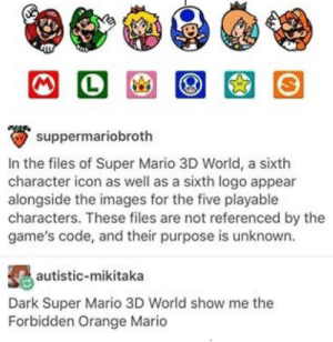 Super Mario, Mario, and Games: suppermariobroth  in the files of Super Mario 3D World, a sixth  character icon as well as a sixth logo appear  alongside the images for the five playable  characters. These files are not referenced by the  game's code, and their purpose is unknown.  autistic-mikitaka  worldshow methe  Forbidden Orange Mario Dark Mario show me the way
