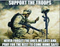 Memes, Home, and 🤖: SUPPORT THE TROOPS  NEVERFORGETTHE ONES WELOSTAND  PRAY FOR THE REST TO COME HOME SAFE! Support the troops! https://t.co/3DCFUtbmRq