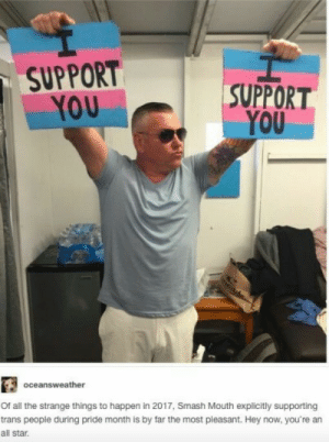I know its 2019, but still: SUPPORT  YOU  SUPPORT  YOU  oceansweather  Of all the strange things to happen in 2017, Smash Mouth explicitly supporting  trans people during pride month is by far the most pleasant. Hey now, you're an  all star. I know its 2019, but still