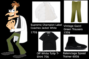 Gucci, Supreme, and Balenciaga: Supreme Champion Label Vintage Gucci  Coaches Jacket White  Green Trousers  170$  150$  grr  MU  Balenciaga Speed  Trainer 600$  Off White Tulip T-  Shirt 70$ dr doofenshmirtz good