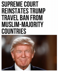 America, Memes, and Muslim: SUPREME COURT  REINSTATES TRUMP  TRAVEL BAN FROM  MUSLIM-MAJORITY  COUNTRIES LAYING DOWN THE LAW! America is safe again. Let the snowflake meltdown commence. 😆👌