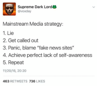 "Fake, Memes, and Supreme: Supreme Dark Lord  @vox day  Mainstream Media strategy:  1. Lie  2. Get called out  3. Panic, blame ""fake news sites""  4. Achieve perfect lack of self-awareness  5. Repeat  11/20/16, 20:20  463  RETWEETS  736  LIKES (MJ)"