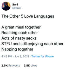 Iphone, Love, and Nasty: Surf  @terrill  The Other 5 Love Languages  A great meal together  Roasting each other  Acts of nasty secks  STFU and still enjoying each other  Napping together  4:43 PM Jun 8, 2019 Twitter for iPhone  2.5K Retweets  5.8K Likes The Other 5 Love Languages