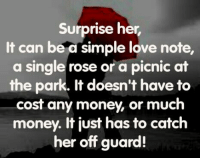 surprise: Surprise her  It can be a simple love note,  a single rose or a picnic at  the park. It doesn't have to  cost any money, or much  money. It just has to catch  her off guard!